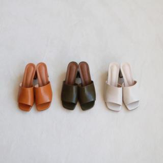 トゥデイフル(TODAYFUL)のsquare open toe sandal♡38 khaki(サンダル)