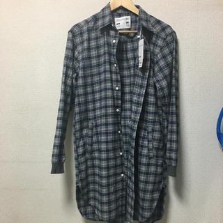 ジーユー(GU)のGU KIM JONES フランネルチェックロングシャツ M ブルー(シャツ)