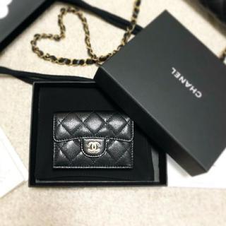 シャネル(CHANEL)の新品 シャネル   ブラック ナノウォレット ミニ財布 ミニウォレット 三つ折り(財布)