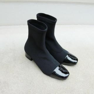 トゥデイフル(TODAYFUL)の完売♡rib sox boots♡38 black(ブーツ)