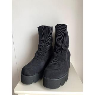 イーエスコレクション(ES collection)のES' PANDOLE 厚底 ストレッチ ショートブーツ ブラック♪♪(ブーツ)