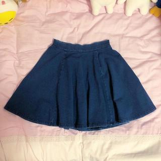 ウィゴー(WEGO)のwego デニム フレア サークル スカート ブルー(ミニスカート)