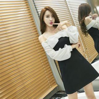 キャバドレス 黒 Aライン ミニ オフショル リボン 長袖 Sサイズ(ミニドレス)