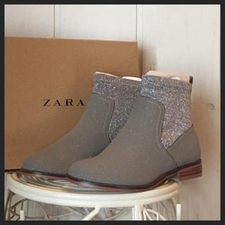 ザラ(ZARA)の新品 グレージュラメショートブーツ(ブーツ)