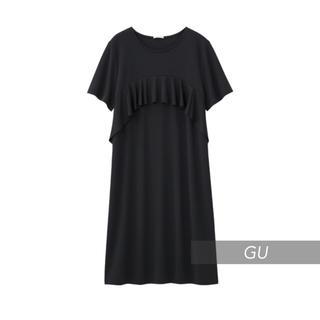ジーユー(GU)の◻️GU◻️ 美品♪ ポンチラッフルワンピース M(ひざ丈ワンピース)