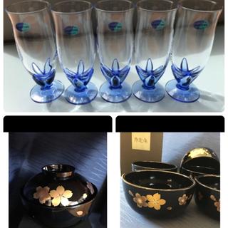トウヨウササキガラス(東洋佐々木ガラス)のビアグラス  5つ、撫松庵 丼 5つ  撫松庵  蓋付椀 2つ  (グラス/カップ)