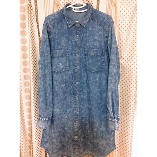 ジーユー(GU)のデニムロングシャツ デニムワンピース GU 大きいサイズ XL(ひざ丈ワンピース)
