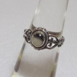 157 ダルメシアン石ピンキーリング4号 アンティーク調 レトロ エスニック(リング(指輪))