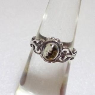 159 ダルメシアン石ピンキーリング4.5号 アンティーク調 レトロ エスニック(リング(指輪))
