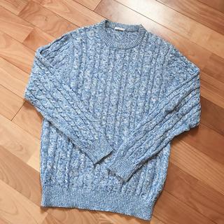 ジーユー(GU)のケーブルクルーネックセーター(ニット/セーター)