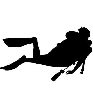 【新品未使用】スキューバーダイビング 転写ステッカー ブラック ダイバー 海(その他)