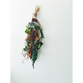 ミモザ  イチジク ワイヤープランツのロングスワッグ ノスタルジア5(ドライフラワー)