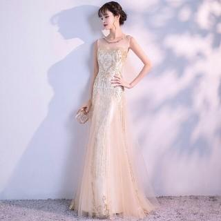 即購入ok シャンパンカラー ドレス ロング丈ドレス パーティードレスS~3XL(ロングドレス)