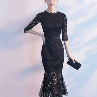 即購入ok ミモレ丈ドレス マーメイドドレス ミモレ丈ワンピース レース 赤 黒(ミディアムドレス)
