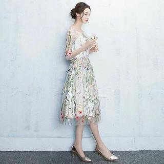 ドレス 花刺繍レースワンピース  ミモレ丈ドレス 膝丈ワンピースXS~XXL(ミディアムドレス)
