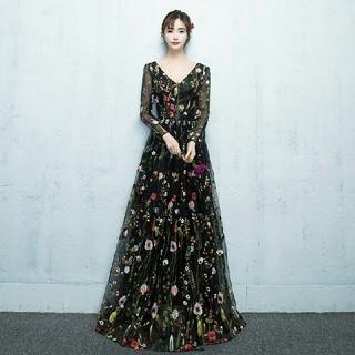 花刺繍レースドレス ロングドレス レースドレス 花柄丈ドレス 長袖 XS~XXL(ロングドレス)