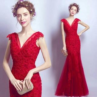 即購入ok ロング丈ドレス マーメイドドレス パーテイードレス XS-3XL(ロングドレス)