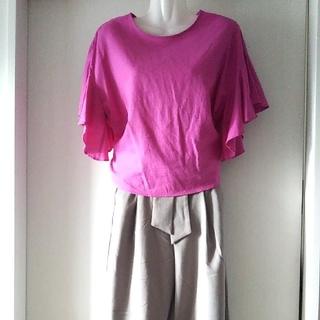 ジーユー(GU)の今期もの、完売商品!ピンクのリネン混トップス(シャツ/ブラウス(半袖/袖なし))