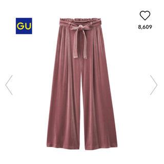 ジーユー(GU)の未使用 GU ベロアワイドパンツ ピンク XL(カジュアルパンツ)