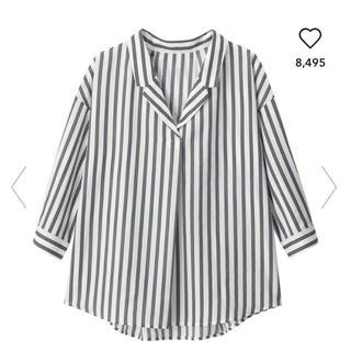 ジーユー(GU)のGU ストライプオープンカラーシャツ(シャツ)