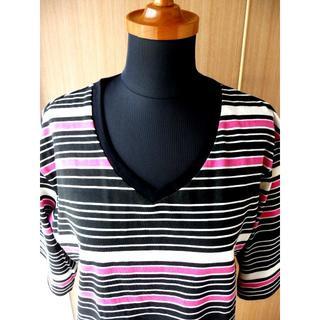 グラッサム(GRASUM)のグラッサム ピンク ボーダー V首 Tシャツ grasum 109系 メンズ(Tシャツ/カットソー(七分/長袖))