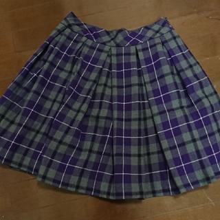 ジェーンマープル(JaneMarple)のジェーンマープル グレー×パープルチェックスカート(ひざ丈スカート)