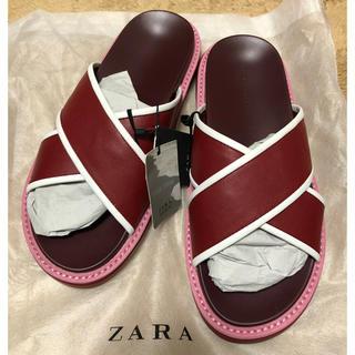 ザラ(ZARA)のZara コントラスト サンダル 新品 38(サンダル)