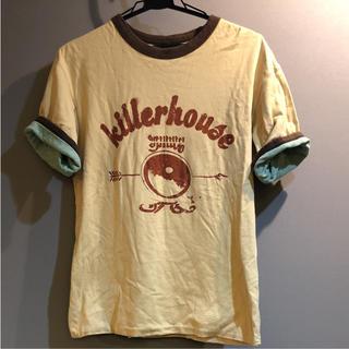 バル(BAL)のベージュと杢グリーンのリバーシブル Tシャツ M(Tシャツ/カットソー(半袖/袖なし))