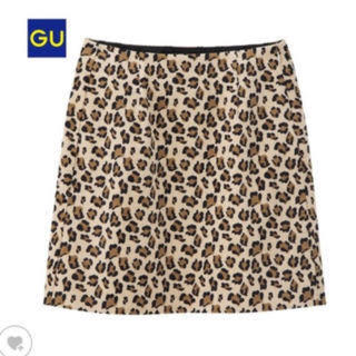 ジーユー(GU)のGU レオパード柄台形スカート(ミニスカート)