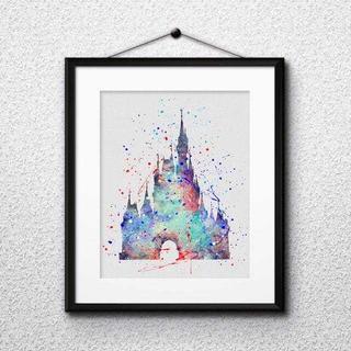 ディズニー(Disney)のシンデレラ城(ディズニーランド)アートポスター【額縁付き・送料無料!】(ポスター)