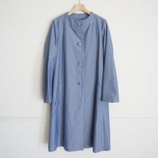 アナトリエ グログラン ノーカラー コート38ブルー(スプリングコート)