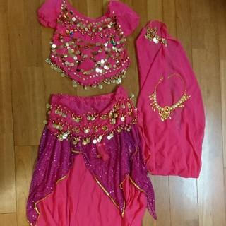 ベリーダンス 衣装 ハロウィン コスプレ スカート ピンク(衣装一式)