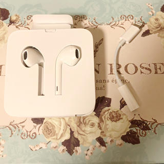 アップル(Apple)のiPhone付属品の高音質純正イヤホンと ヘッドフォンジャックアダプター(ヘッドフォン/イヤフォン)