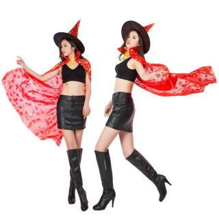 魔女 コスプレ マント ハロウィン <赤 レッド>(衣装)