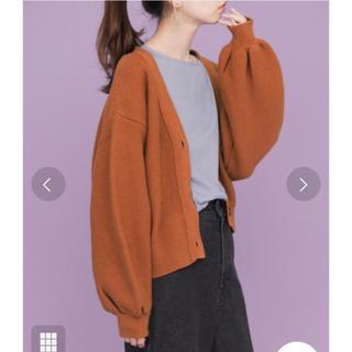 ケービーエフ(KBF)の新品タグ◆ガーター編みショートガーディガン オレンジブラウン(カーディガン)