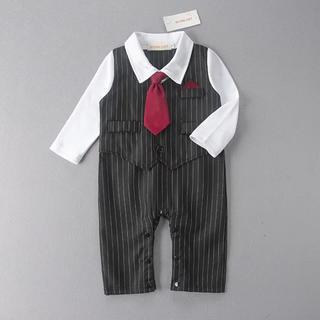 80cm♡長袖フォーマルロンパース 男の子スーツ黒 新生児 退院 お宮参り(セレモニードレス/スーツ)