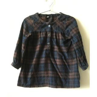 MUJI (無印良品) - ++muji 無印良品++フランネルチェックシャツワンピース キッズ 100