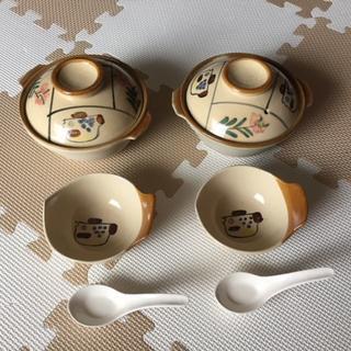 【新品・未使用】土鍋、蓋、レンゲ、手付小鉢 各2点 合計 8点セット(食器)