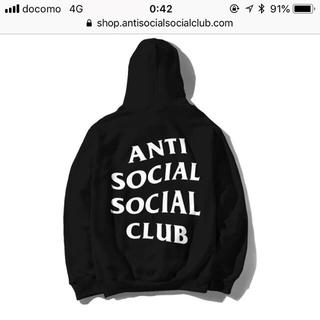 シュプリーム(Supreme)のanti social social club hoodie L black(パーカー)