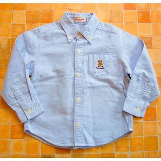 mikihouse - ☆ミキハウス☆水色のカッターシャツ 100サイズ ブラウス クマ刺繍