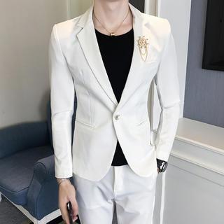 白 メンズスーツ 2点セット 大人気 スリム即購入ok 送料込み (セットアップ)