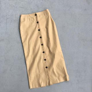 アントマリーズ(Aunt Marie's)のAunt Marie's フロントボタンリネンスカート(ひざ丈スカート)
