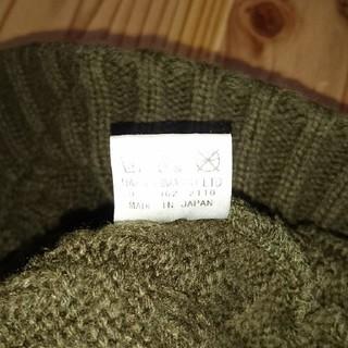 カーキのつば付きニット帽です。日本製(ニット帽/ビーニー)