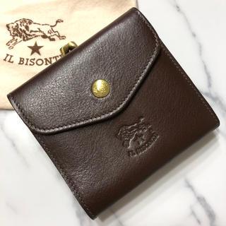 イルビゾンテ(IL BISONTE)の新品 イルビゾンテ ガマ口 財布 二つ折り こげ茶 コインケース 本革 ブランド(折り財布)