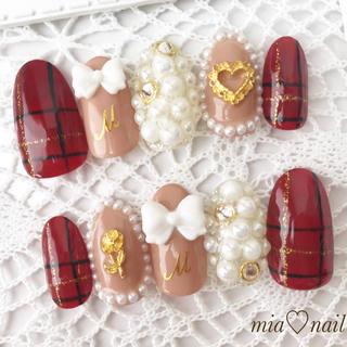 ゆめかわいい〜リボンとビジューの秋冬ネイル(つけ爪/ネイルチップ)