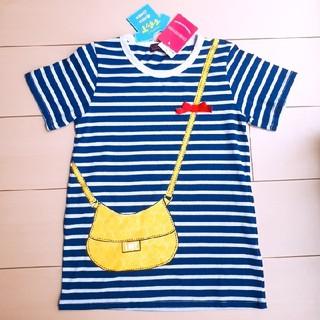 シマムラ(しまむら)の新品 だまし絵Tシャツ  130 紺 しましま 半袖 女の子(Tシャツ/カットソー)