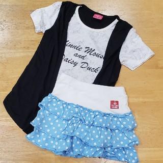 シマムラ(しまむら)の【130】重ね着風Tシャツ&スカートセット★中古(Tシャツ/カットソー)