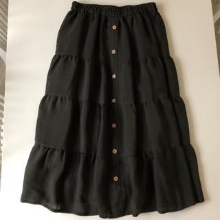 シフォンスカート  L   カーキ  深緑(ロングスカート)