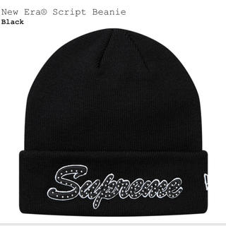 シュプリーム(Supreme)の送料込み 新品 Supreme New Era Script Beanie 黒(ニット帽/ビーニー)