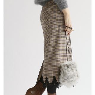 イエナ(IENA)の新品タグ付 IENA 2017AW レースタイトスカート 34 ブラウン(ロングスカート)